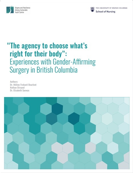 """At the top are are logos of SARAVYC and UBC School of Nursing. The main text reads, """"""""The agency to choose what's right for their body"""": Experiences with Gender-Affirming Surgery in British Columbia."""" Below the main text are the names of the three authors. Last is a teal-green gradient geometric image."""