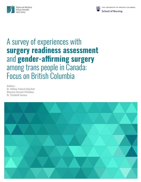 """At the top are are logos of SARAVYC and UBC School of Nursing. The main text reads, """"A survey of experiences with surgery readiness assessment and gender-affirming surgery among trans people in Canada: Focus on British Columbia."""" Below the main text are the names of the four authors. Last is a teal-green gradient geometric image."""
