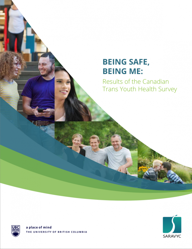"""On the right is text that reads, """"Being safe, being me: Results of the Canadian Trans Youth Health Survey."""" Below the text is a UBC logo and SARAVYC logo. To the left are 4 different images of youth."""