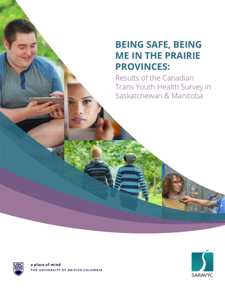 """On the right is text that reads, """"Being safe, being me in the Prairie Provinces: Results of the Canadian Trans Youth Health Survey in Saskatchewan & Manitoba."""" Below the text is a UBC logo and SARAVYC logo. To the left are 4 different images of youth."""