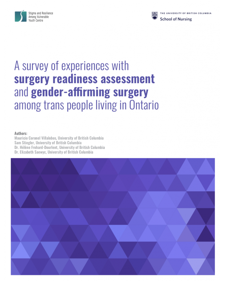 """At the top are are logos of SARAVYC and UBC School of Nursing. The main text reads, """"A survey of experiences with survey readiness assessment and gender-affirming survey among trans people living in Ontario."""" Below the main text are the names of the four authors. Last is a purple gradient geometric image."""