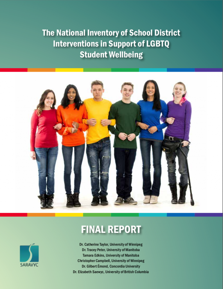 """The main text reads, """"The National Inventory of School District Interventions in Support of LGBTQ Student Wellbeing."""" Below is an image if six diverse youth. Under the image it states """"Final Report."""" Further below are the names of the six authors. To the left is the SARAVYC logo"""