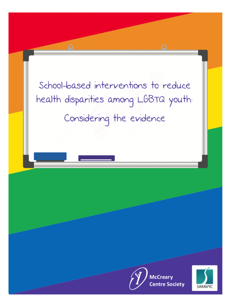 """The main text reads, """"School-based interventions to reduce health disparities among LGBTQ youth: Considering the evidence"""" and is depicted on a clip-art chalkboard image. Below is the SARAVYC and McCreary Centre Society logo"""
