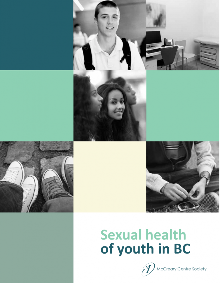 """The main text reads, """"Sexual Health of Youth in BC"""" and is depicted below collage style images: both black and white, two of youth and three of symbolic images (feet, desk, hands). At the bottom is the McCreary Centre Society logo"""