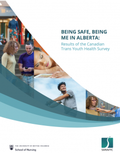 """On the right is text that reads, """"Being safe, being me in Alberta: Results of the Canadian Trans Youth Health Survey."""" Below the text is a UBC logo and SARAVYC logo. To the left are 4 different images of youth."""