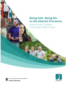 "On the right is text that reads, ""Being safe, being me in Atlantic Provinces: Results of the Canadian Trans Youth Health Survey."" Below the text is a UBC logo and SARAVYC logo. To the left are 4 different images of youth."