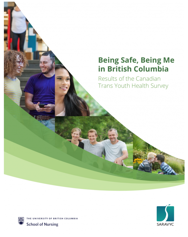 """On the right is text that reads, """"Being safe, being me in British Columbia: Results of the Canadian Trans Youth Health Survey."""" Below the text is a UBC logo and SARAVYC logo. To the left are 4 different images of youth."""