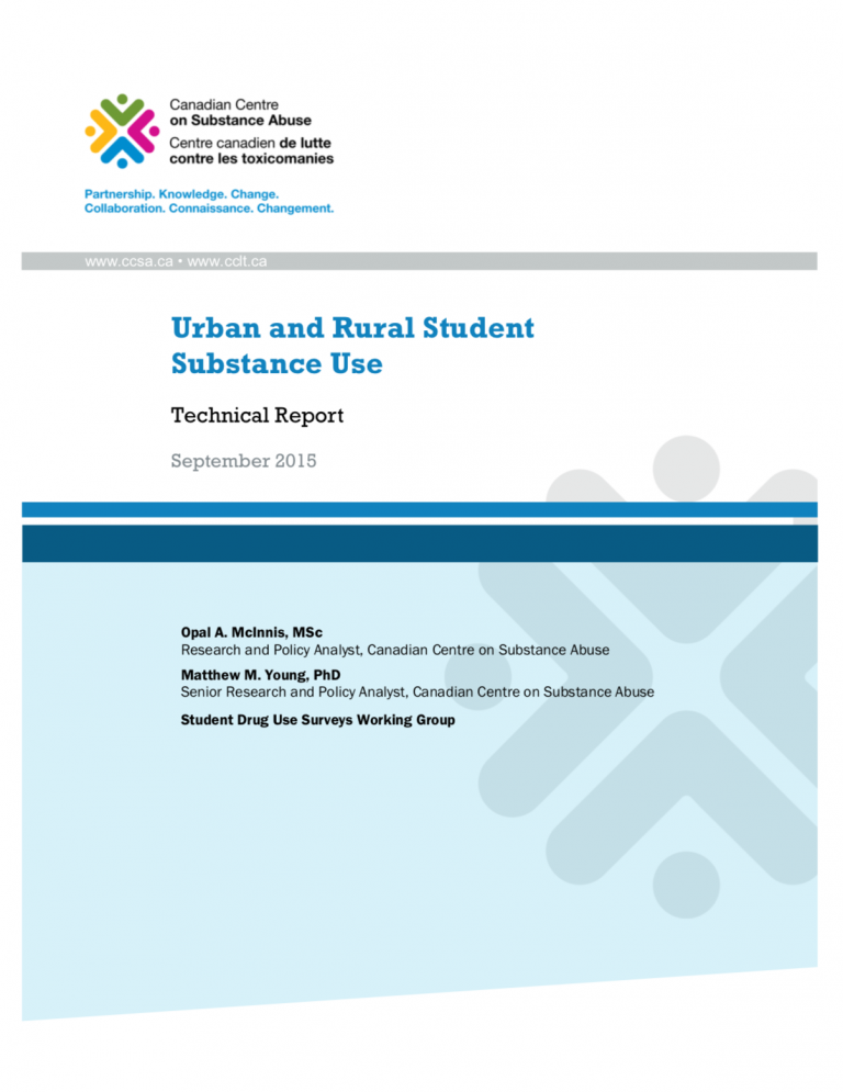 """The main text reads, """"Urban and rural student substance use: Technical report."""" Below it states """"Technical Report"""" and is dated """"September 2015."""" Two authors are listed below. At the top is the Canadian Centre on Substance Abuse logo."""