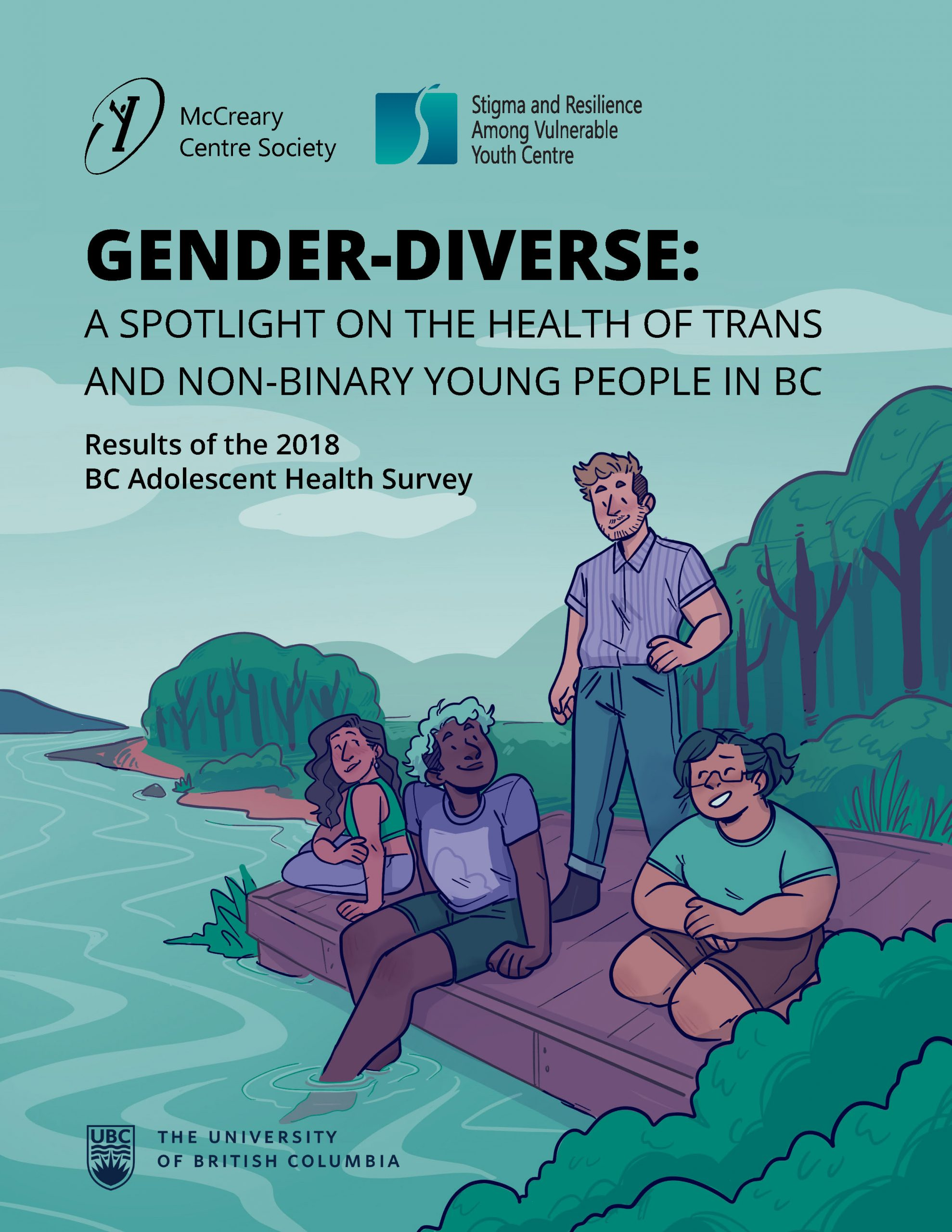 Image of the report cover page features an illustration of four gender-diverse youth sitting on a beach and smiling.
